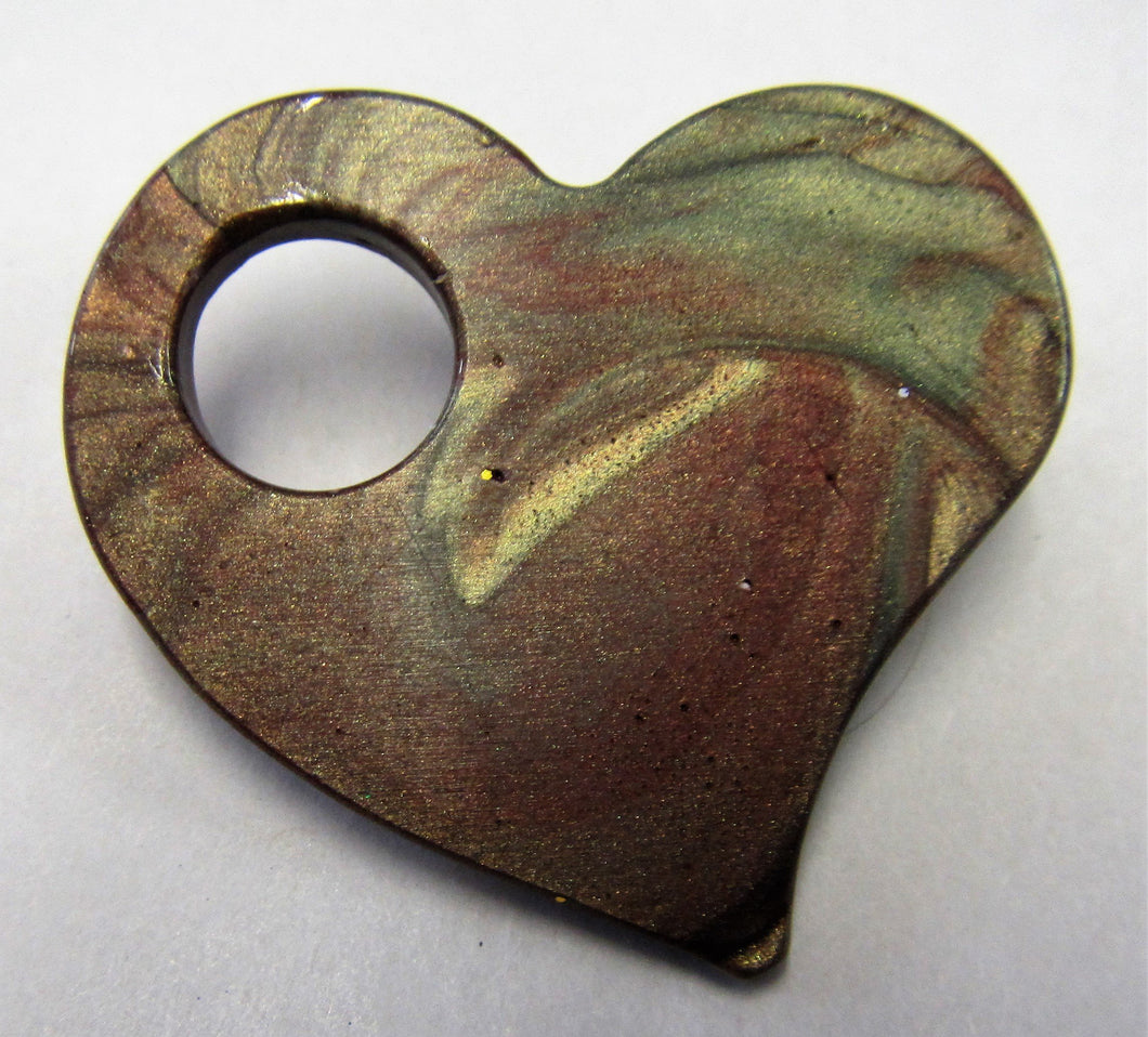Hand crafted resin heart brooch