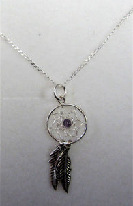 Handcrafted 925 sterling silver necklace with a dream catcher pendant