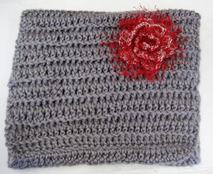 Handcrafted unique acrylic wool crochet grey snood with red flower