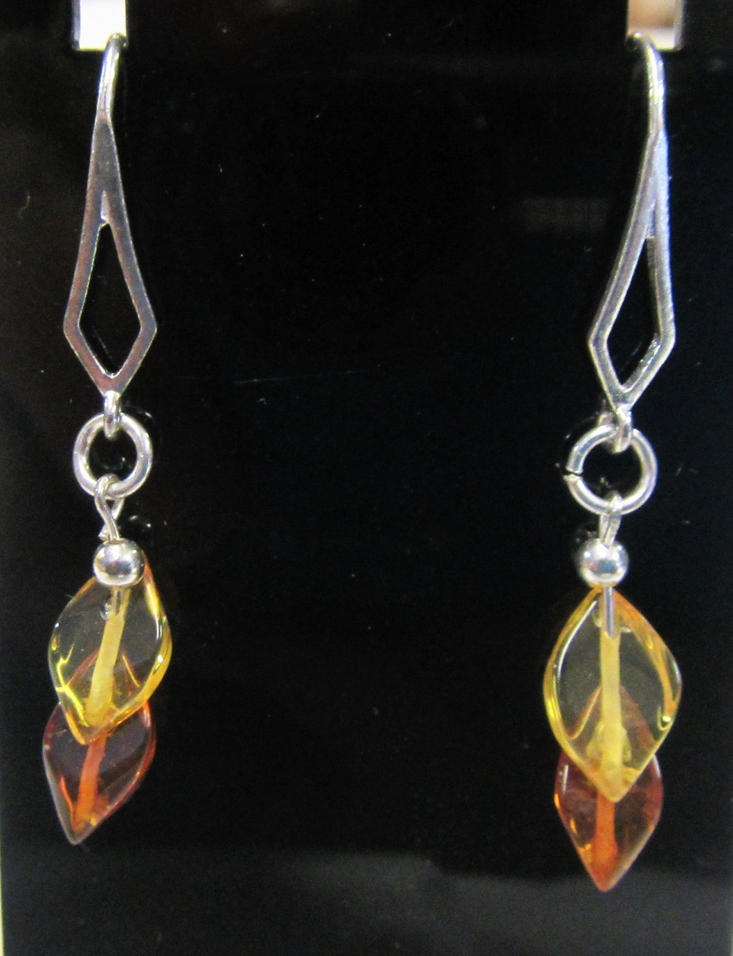 Handcrafted Amber leaf stone earrings on 925 sterling silver hooks