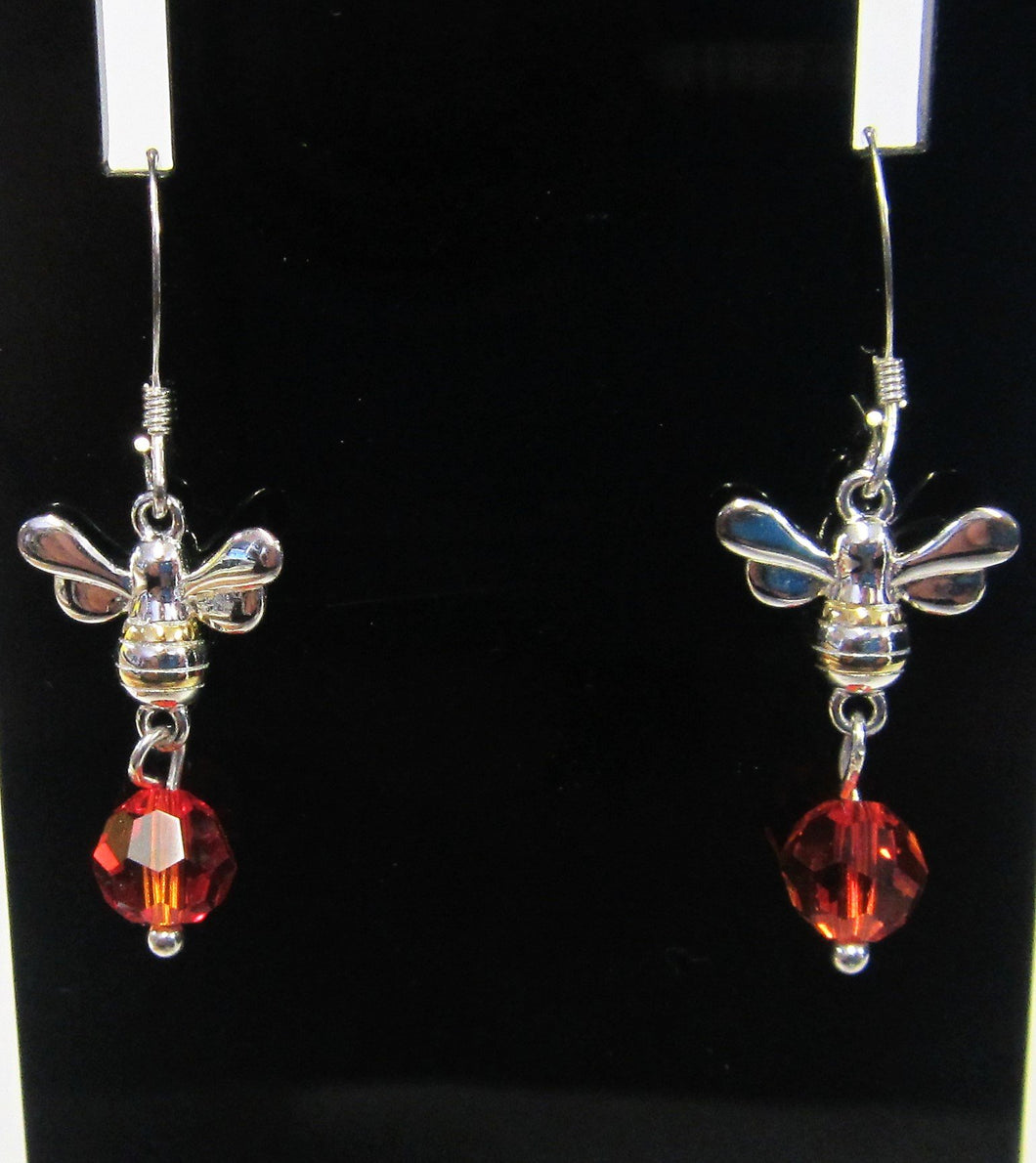 Handcrafted Bee and orange crystal earrings on 925 sterling silver hooks