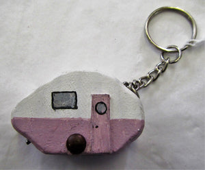 Handcrafted purple and white caravan wooden key ring
