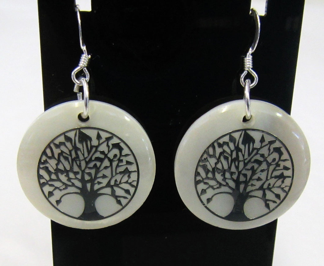 Handcrafted shell tree of life earrings on 925 sterling silver hooks