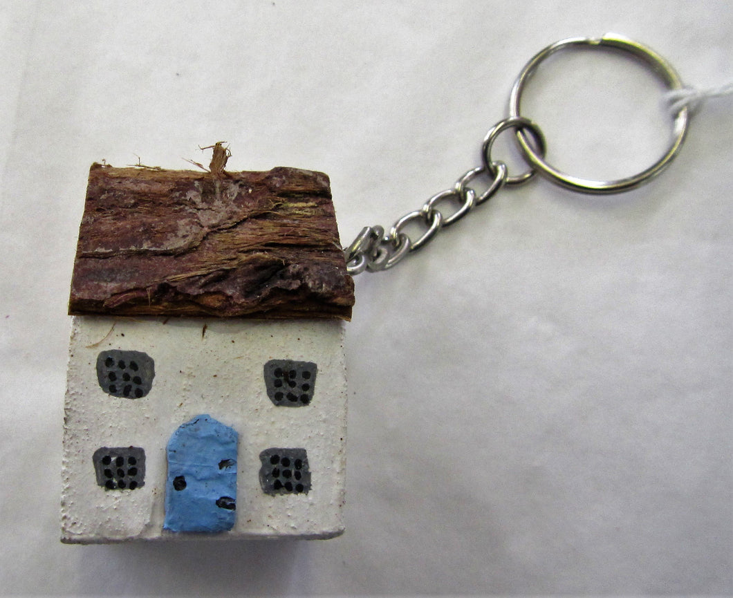 Handcrafted Cottage wooden key rings various colours