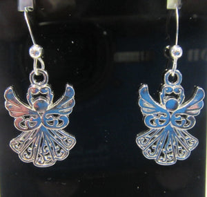 Handcrafted angel earrings on 925 sterling silver hooks