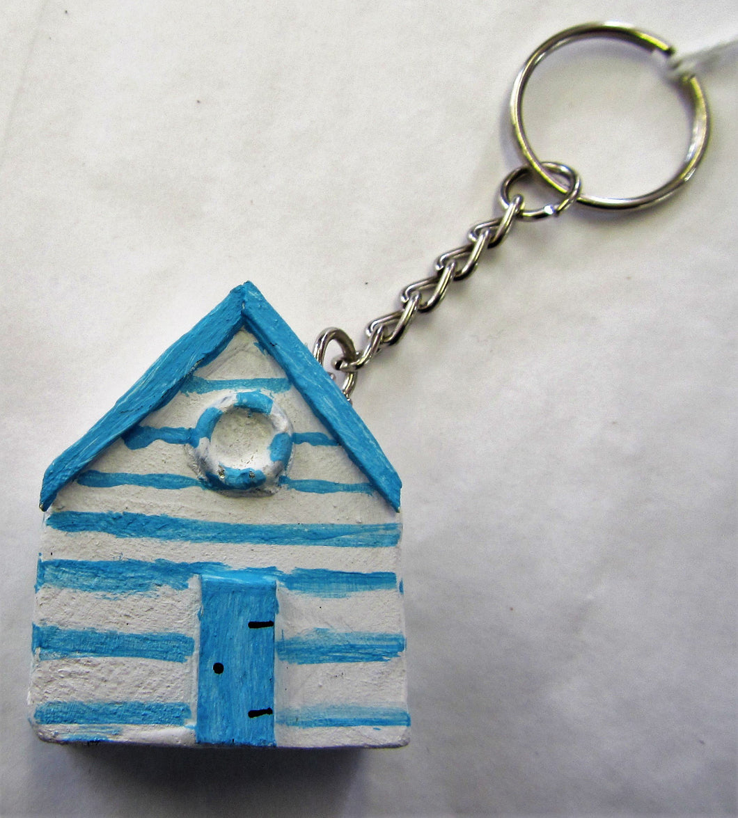 Handcrafted beach hut wooden key ring in various colours