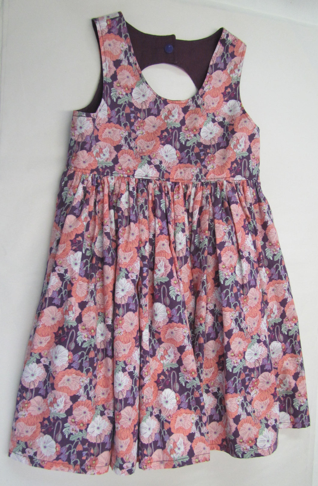 Hand crafted peach and purple floral dress fully lined 5 years