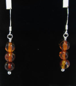 Handcrafted Sterling Silver amber earrings, approximately 3.5 cm in length