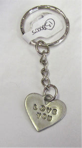 "Handcrafted unique ""Love"" Sterling Silver key ring"