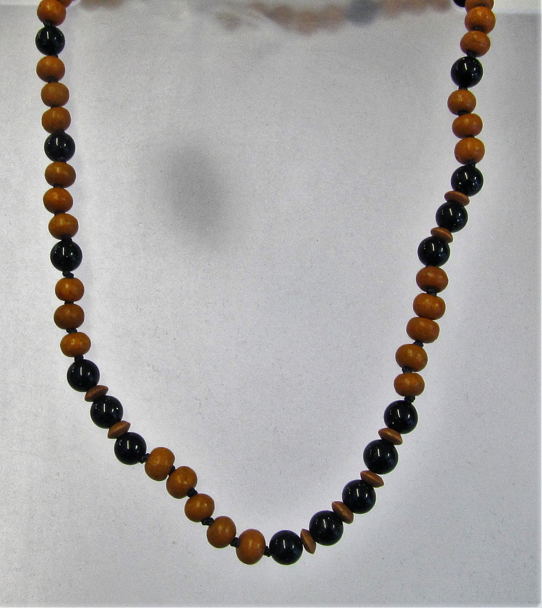 Handcrafted black agate and wood necklace with silver clasp
