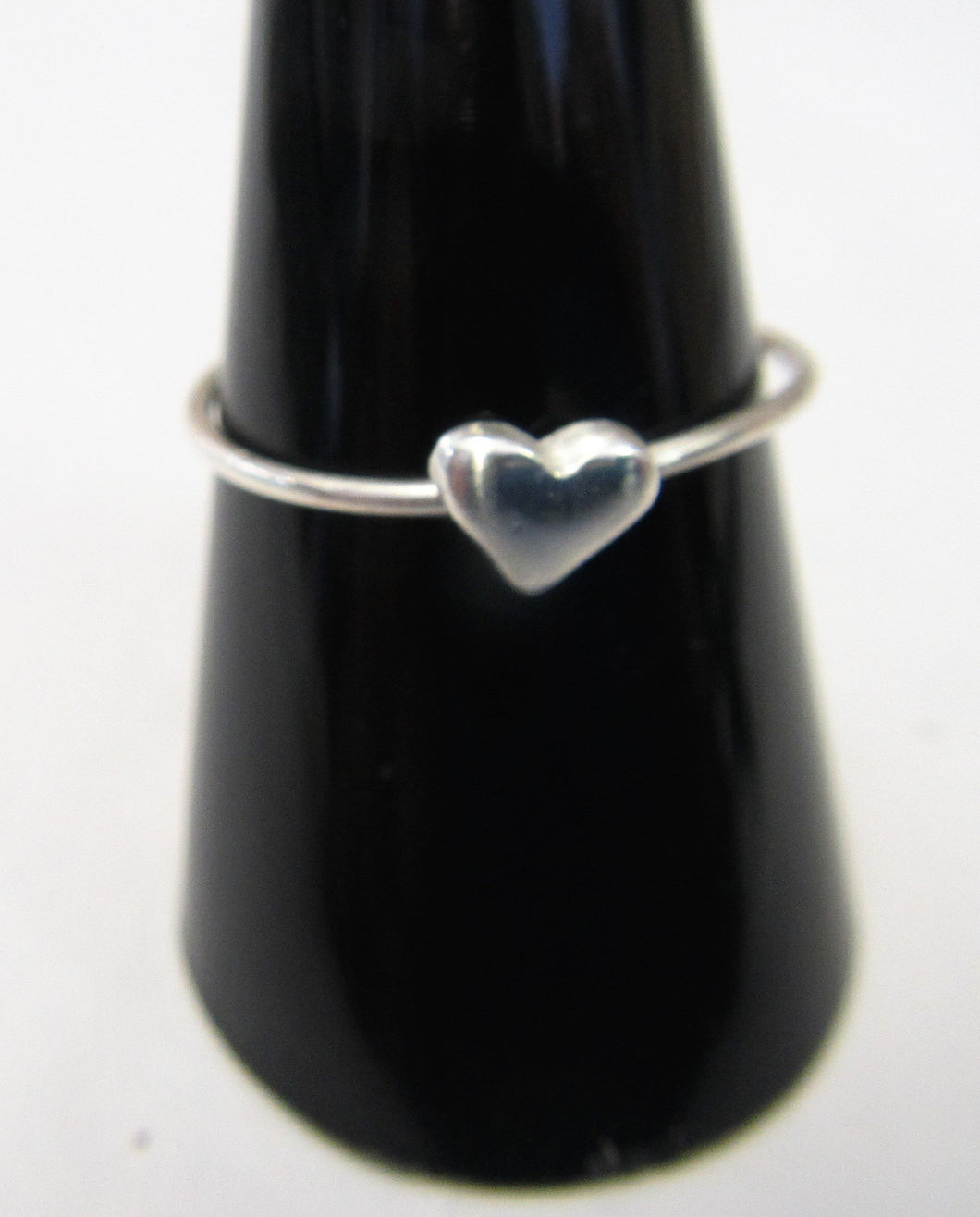 Handcrafted sterling silver heart wire ring  Size R