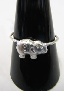 Handcrafted sterling silver elephant wire ring  Size T