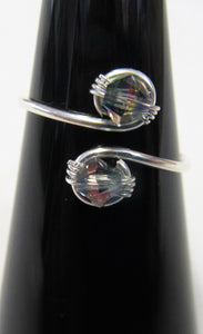 Handcrafted sterling silver wire ring with rainbow swarovski crystals Size N+