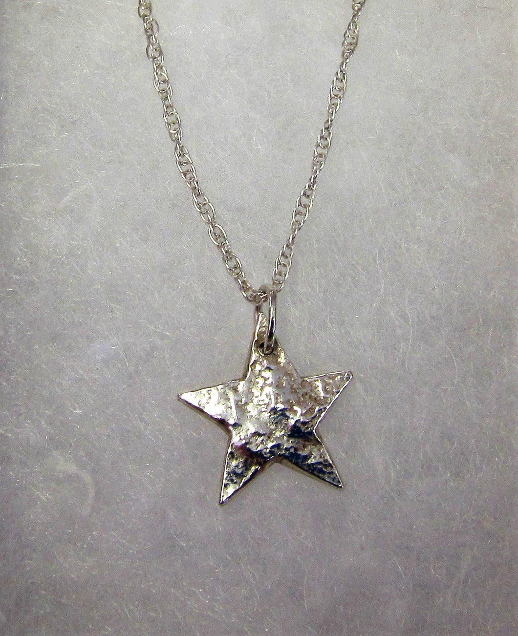 Handcrafted 925 sterling silver reticulated hand cut star necklace