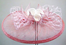 Load image into Gallery viewer, Handcrafted fascinator with white lilies and leaves on a clip or headband various colours