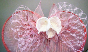 Handcrafted fascinator with white lilies and leaves on a clip or headband various colours