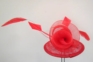 Handcrafted red flower fascinator with feathers on a hair band or clip