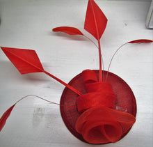 Load image into Gallery viewer, Handcrafted red flower fascinator with feathers on a hair band or clip