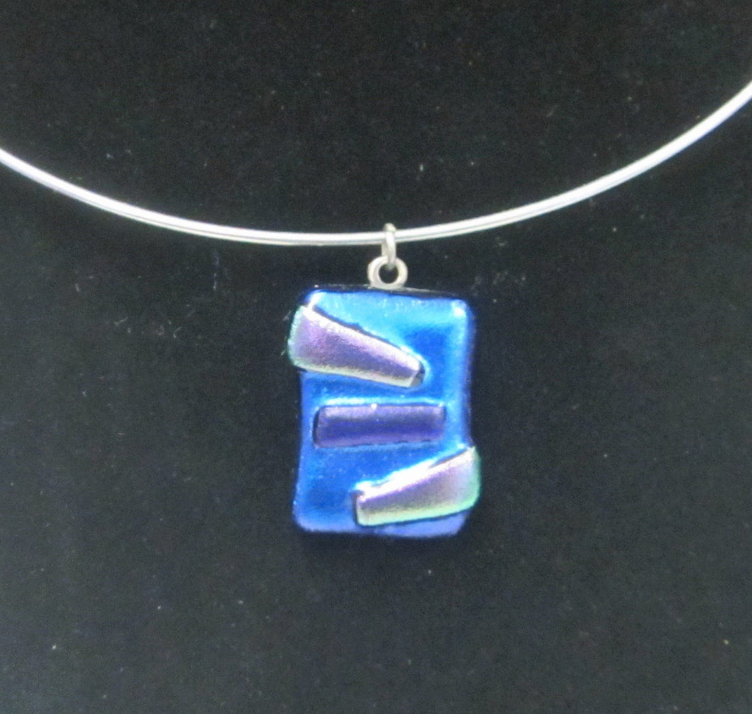 Handcrafted dichroic glass pendant on a wire choker necklace