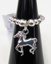 Load image into Gallery viewer, Handcrafted Sterling Silver beaded ring with various pendants