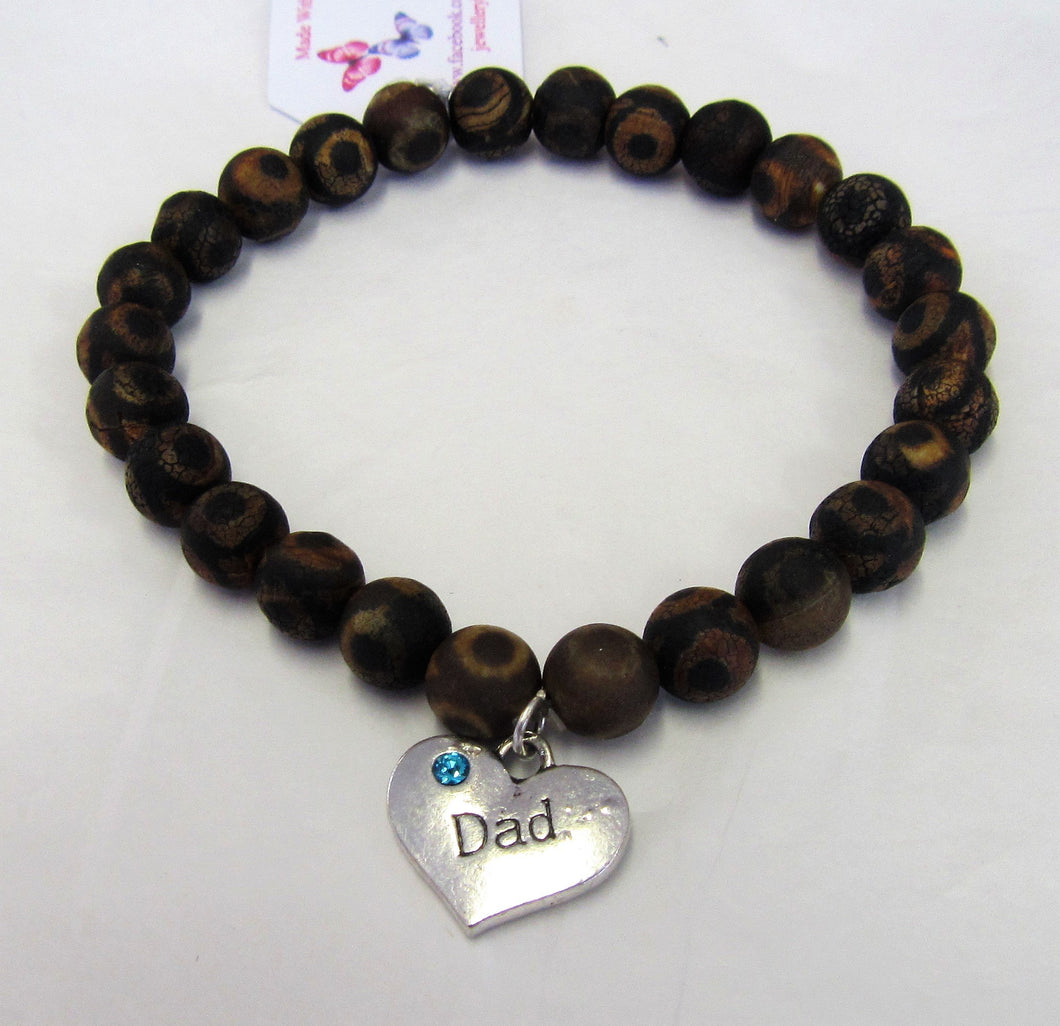 Handcrafted men's Frosted Agate elasticated bracelet with Dad charm