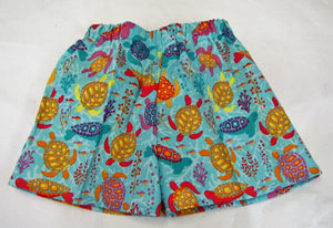 Handcrafted blue turtle shorts 12-18  months