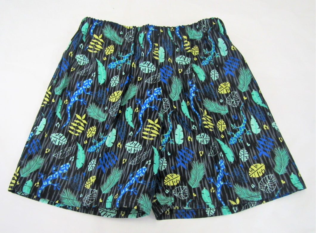 Handcrafted blue and green gecko shorts 3-4 years