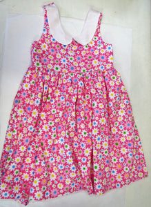 Handcrafted Pink daisy dress and fully lined 6-7 years