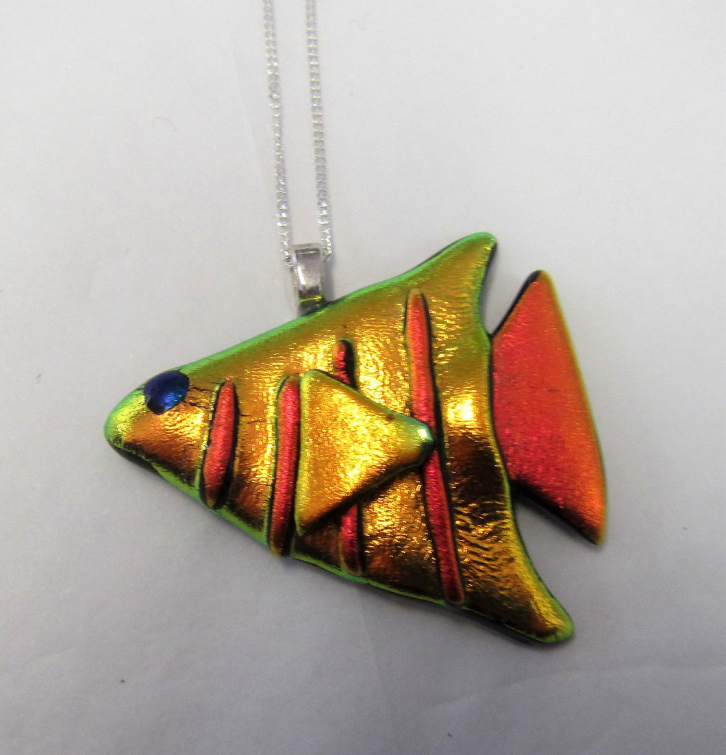Handcrafted dichroic glass fish on a sterling silver necklace