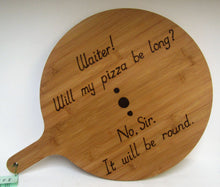 Load image into Gallery viewer, Handcrafted Bamboo Pizza Boards with various pyrography wording