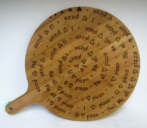 Handcrafted Bamboo Pizza Boards with various pyrography wording