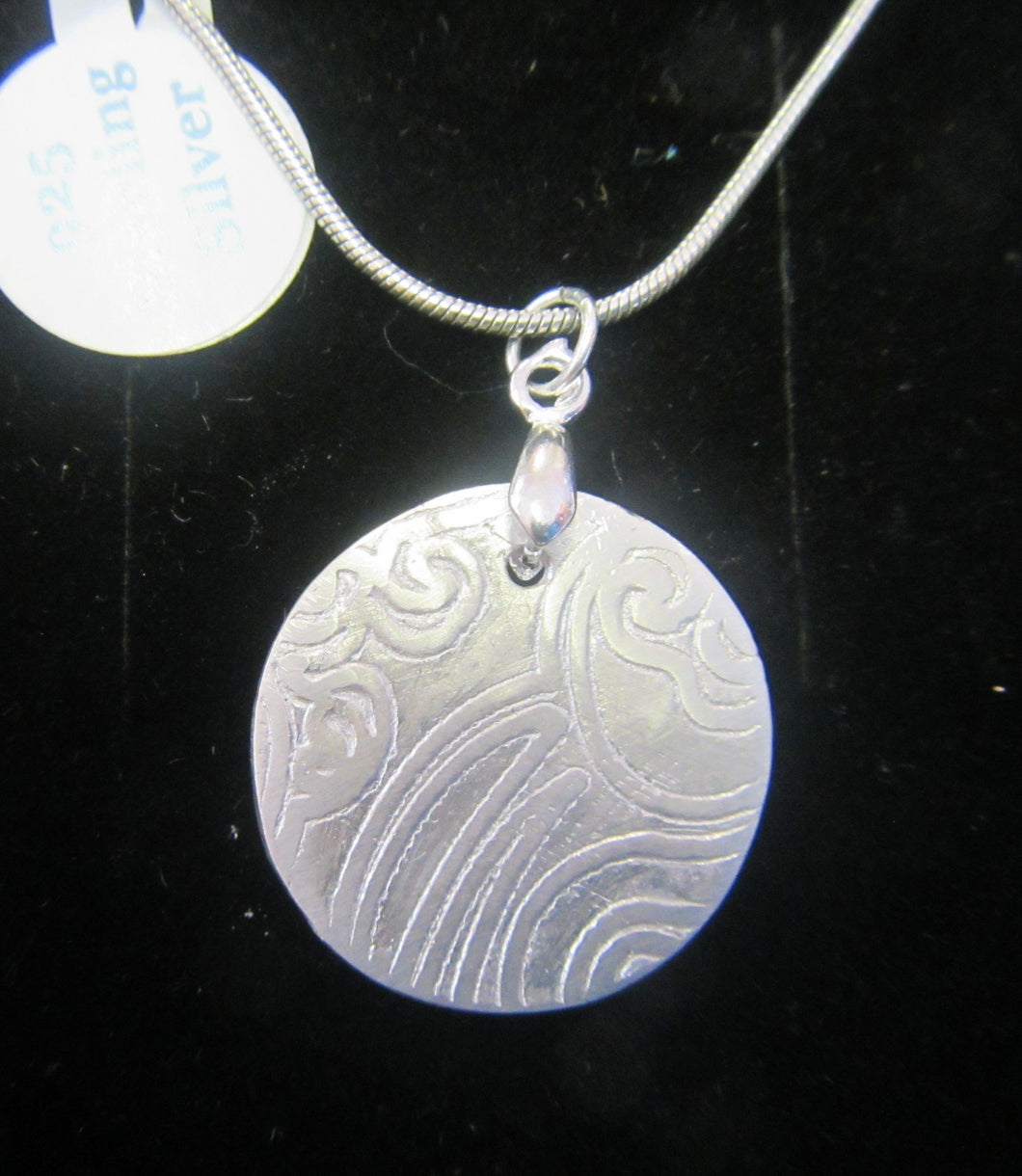 Handcrafted silver patterned disk pendant with 925 Silver necklace