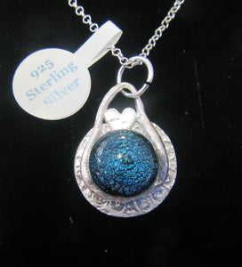 Handcrafted blue fused glass mounted on silver disk pendant with 925 Silver necklace