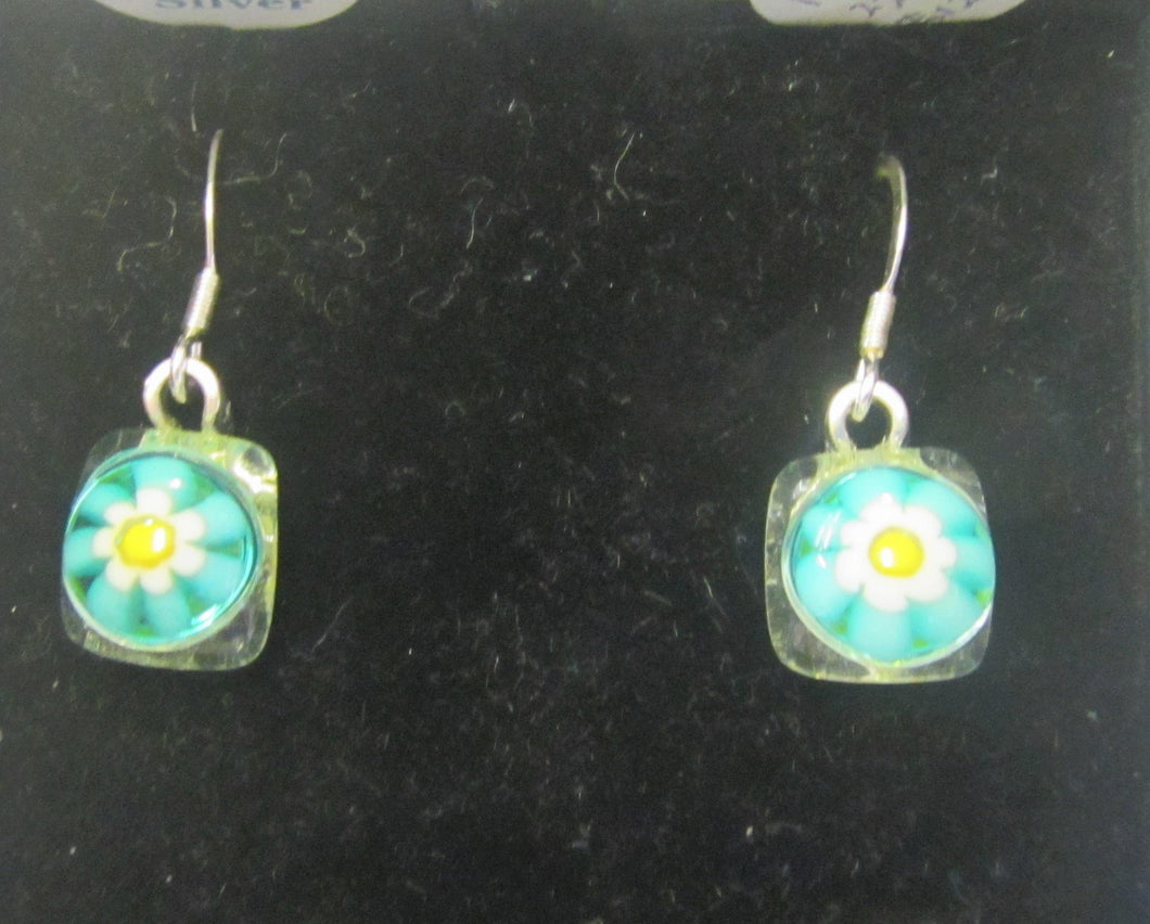 Handcrafted blue flower fused glass earrings on 925 posts hooks