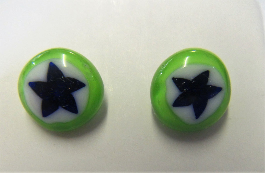 Handcrafted green with blue stars fused glass stud earrings on 925 posts and butterflies