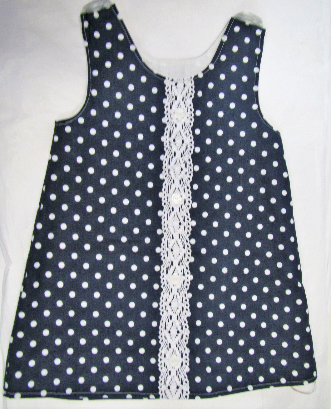 Handcrafted blue polka dot pinafore 2-3 years
