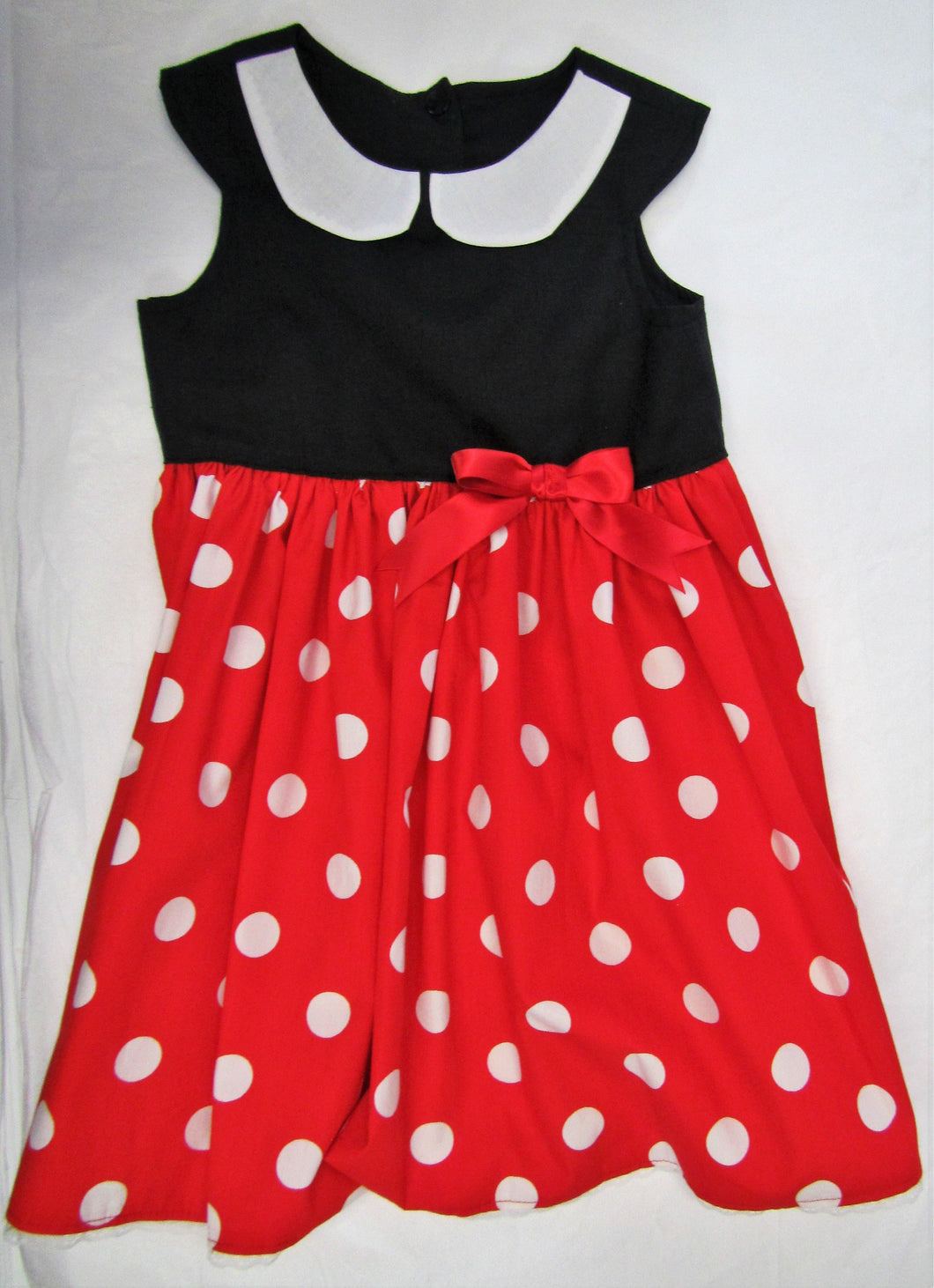 Handcrafted black and red spotted dress 2-3 years