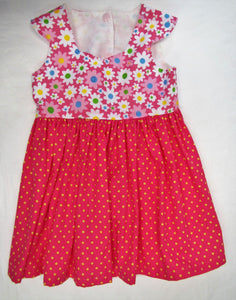 Handcrafted pink daisy and spot dress 9-12 months