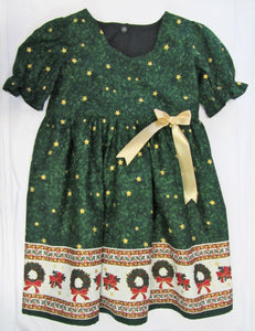 Hand crafted green and gold fully lined Christmas dress 4-5 years