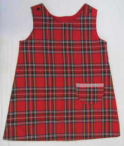 Hand crafted tartan fully lined pinafore dress 3-4 years