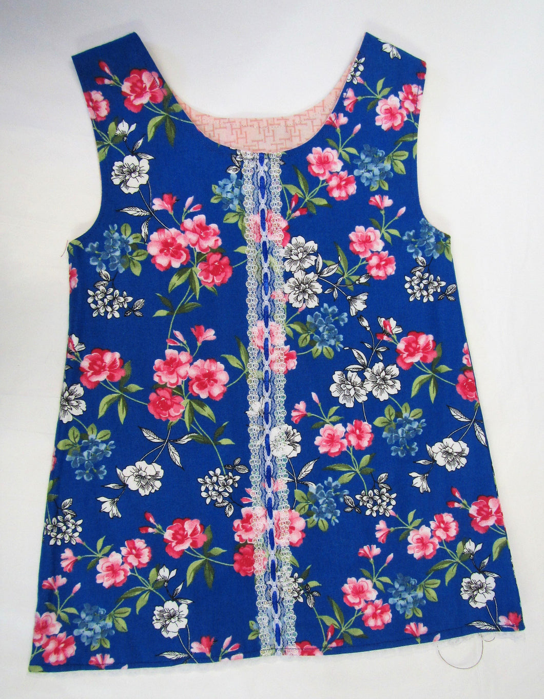 Hand crafted blue and pink floral pinafore 9-12 months