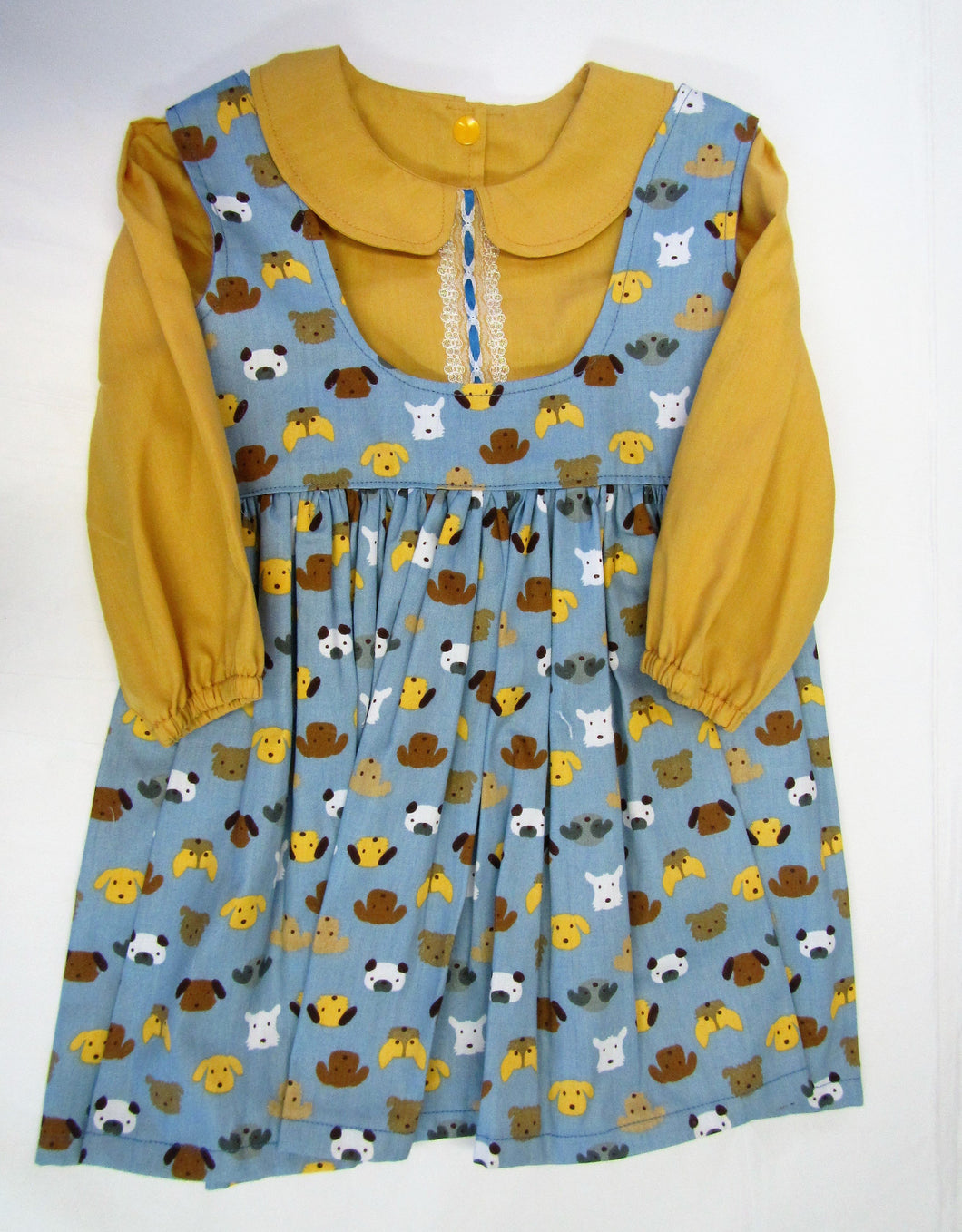 Hand crafted blue puppy dress with mustard blouse 1-2 years