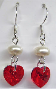 Handcrafted swarovski Crystal red heart with pearl on sterling silver earrings