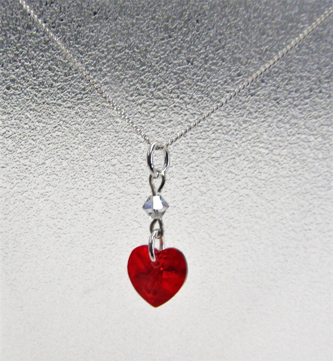Handcrafted swarovski Crystal red heart on sterling silver necklace