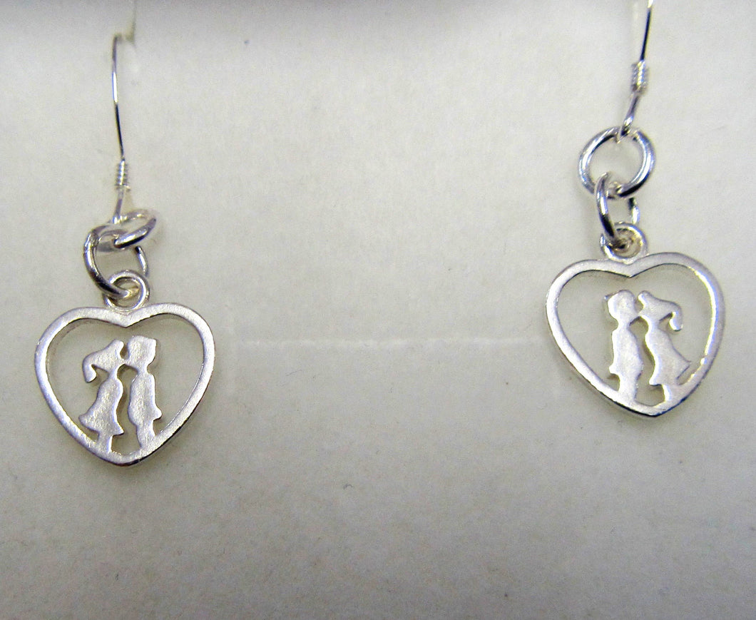 Handcrafted Kissing Cousins 925 sterling silver earrings