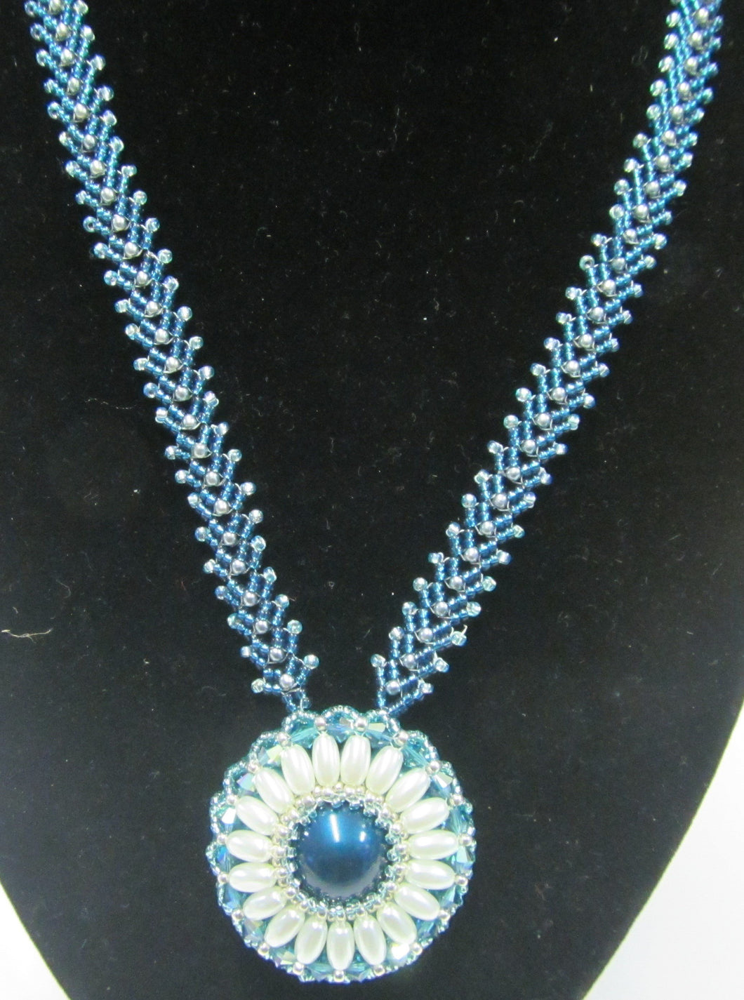 Handcrafted sundance swarovski crystal and beaded turquoise and white necklace