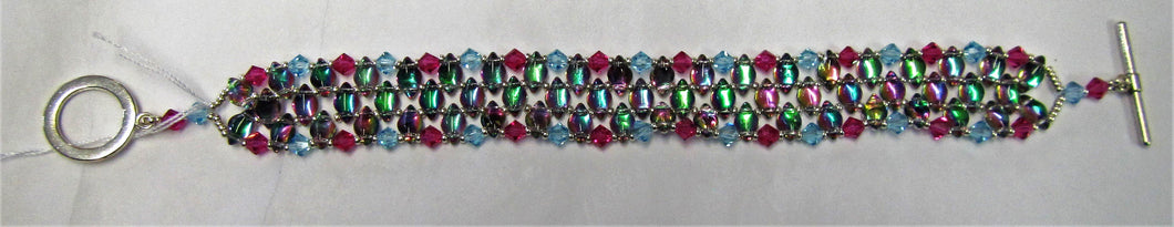 Handcrafted unique backlit spectrum gemduo blue and pink bicone bracelet