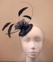 Load image into Gallery viewer, Handcrafted small blue flower and feather fascinator on a headband