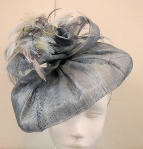 Handcrafted air force blue  fascinator with bow rose and feathers on a hair band