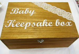 "Handcrafted wooden and lace ""Baby Keepsake"" box"